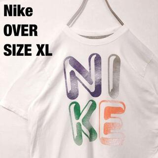 ナイキ(NIKE)のナイキnikeユースオーバーサイズXLホワイトTシャツサイズXLデカロゴ古着(Tシャツ(半袖/袖なし))