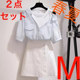 ザラ(ZARA)のトップス シャツ スカート ホワイト 2点セット セットアップ 韓国 M 春 夏(シャツ/ブラウス(半袖/袖なし))