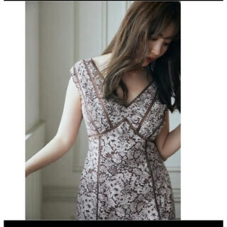 snidel - herlipto lacetrimmedfloraldress brown
