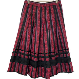 ドリスヴァンノッテン(DRIES VAN NOTEN)のヴィンテージ  スカート プリーツ エスニック柄 ピンク ブラック(ロングスカート)
