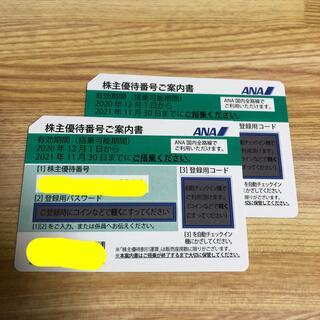 エーエヌエー(ゼンニッポンクウユ)(ANA(全日本空輸))のANA 株主優待番号ご案内書 2枚(航空券)