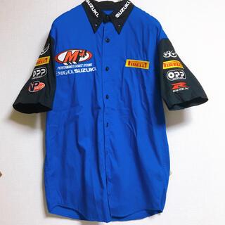 スズキ(スズキ)のレーシングシャツ 刺繍ロゴ ワッペン SUZUKI PIRELLI  青 メンズ(シャツ)