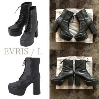 EVRIS - EVRIS レースアップ ブーツ 厚底 黒