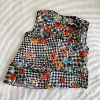 ザラ(ZARA)のZARA 花柄 チェック トップス(シャツ/ブラウス(半袖/袖なし))