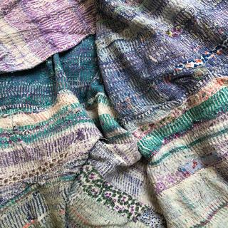 ヴィンテージラリーキルト #110 刺繍 刺し子 襤褸 インド綿 リメイク 古布
