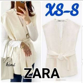 ザラ(ZARA)のZARA (XS-S エクリュ) ベルテッドオーバーサイズベスト(ベスト/ジレ)
