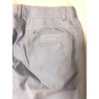 CHANEL - シャネル CHANEL ロゴマーククロップドパンツ パンツ カメリア ストライプ