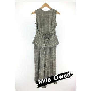 Mila Owen - 【Mila Owen】ベルト付きチェック柄セットアップ