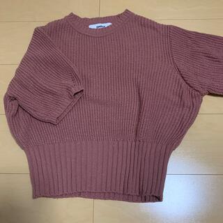 ディーホリック(dholic)のDHOLIC ピンク ニット ウエストマーク トップス(Tシャツ(半袖/袖なし))