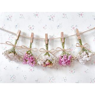 3種のピンクのバラのパステルドライフラワーガーランド♡スワッグ♡ミニブーケ