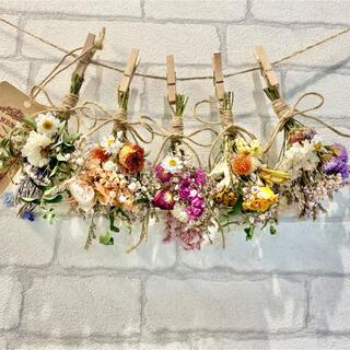 ドライフラワー スワッグ ガーランド❁268カラフル 薔薇 かすみ草 花束♪(ドライフラワー)