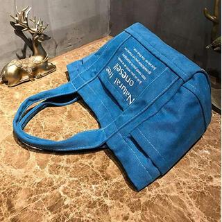 ♥新品送料込み♥ blue 青 ロゴトート キャンバス 大容量(マザーズバッグ)