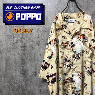 Disney - ディズニー☆ミッキーフィッシングルアー柄レーヨンオープンカラーアロハシャツ