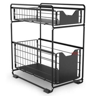 キッチンラック シンク下収納 スライドラック 2段 伸縮棚 押入れ整理棚(携帯用ゲームソフト)