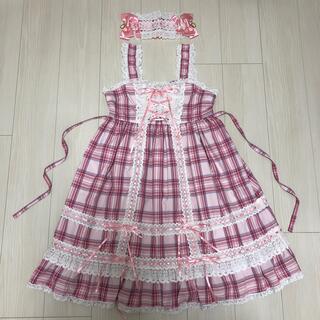 BABY,THE STARS SHINE BRIGHT - タータンチェックベビードールJSK+ヘッドドレス