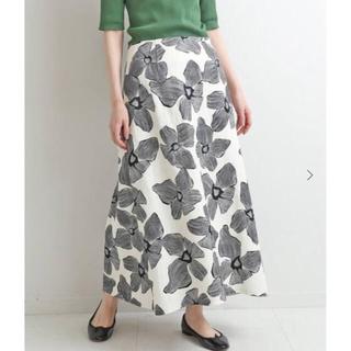 IENA - 2021SS IENA モノトーンフラワー綿麻スカート