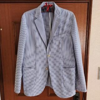 ジーユー(GU)のジーユー GU シアサッカージャケット L 紺 ネイビー ストライプ 春夏 A7(テーラードジャケット)
