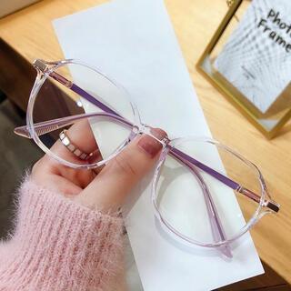 男女兼用 ブルーライトカットメガネ 伊達眼鏡 サングラス PC スマホ パープル(サングラス/メガネ)