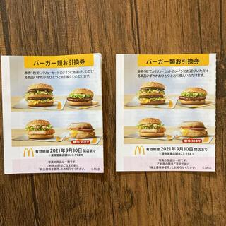 マクドナルド(マクドナルド)のマック ハンバーガー 引換券 2枚(フード/ドリンク券)