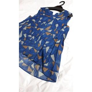 スコットクラブ(SCOT CLUB)のノースリーブブラウス(ブルー)(シャツ/ブラウス(半袖/袖なし))
