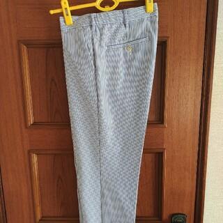 ジーユー(GU)のジーユー GU シアサッカーパンツ トラウザー スラックス紺ネイビーM 83cm(スラックス)