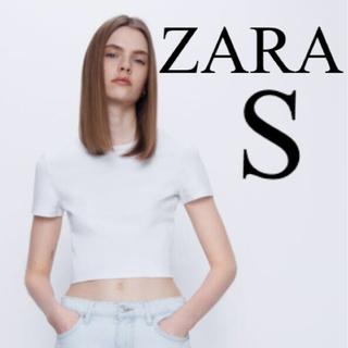 【新品未使用】ZARA クロップド丈Tシャツ コットンTシャツ 白 S