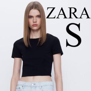 【新品未使用】ZARA クロップド丈Tシャツ コットンTシャツ 黒 S