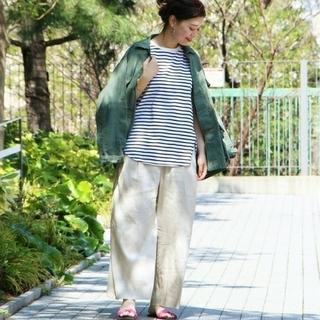 MUJI (無印良品) - 【新品】無印良品フレンチリネンワイドパンツ/S/ペールブラウン