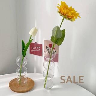 ★SALE★バブルフラワーベース 花瓶 透明 ガラス 3連 韓国 インテリア