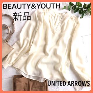 ビューティアンドユースユナイテッドアローズ(BEAUTY&YOUTH UNITED ARROWS)のビューティーアンドユース 白 ホワイト 長袖 トップス スキッパーブラウス F(シャツ/ブラウス(長袖/七分))