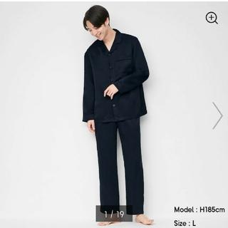 ジーユー(GU)のGU 新品 タグ付き サテン パジャマ 長袖 ブラック XL(その他)