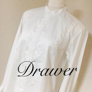 Drawer - 完売品 ドゥロワー Drawer スタンドカラーロングシャツ 白