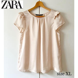 ザラ(ZARA)のZARA ザラ フリルサテンブラウス(シャツ/ブラウス(半袖/袖なし))