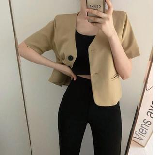 OHOTORO - 【予約商品】《3カラー》ノーカラー 半袖ジャケット 韓国ファッション