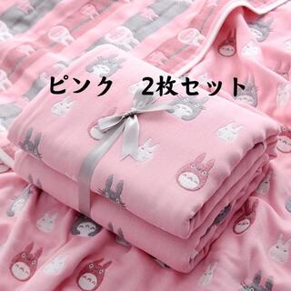 新品 6重ガーゼケット 子供赤ちゃんベビーブランケット ピンクバスタオル掛け布団(おくるみ/ブランケット)
