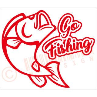 釣りに行こうバスフィッシングカッティングステッカー カラー変更可能(その他)