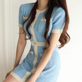 STYLENANDA - 【予約商品】《3カラー》リブ バイカラー ミニ丈 クラブ服 ワンピース 韓国
