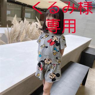 激安SALE 韓国キッズ夏半袖ミッキーTシャツ+ショートパンツセットアップグレー