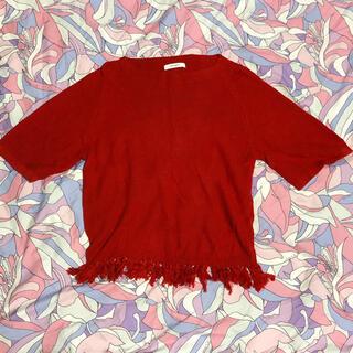マウジー(moussy)のmoussy マウジー 裾フリンジサマーニットプルオーバー(カットソー(半袖/袖なし))