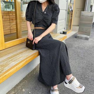 STYLENANDA - 【予約商品】《2カラー》セットアップ チェック パフ Aラインスカート 韓国