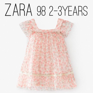 ザラキッズ(ZARA KIDS)のZARA ザラ キッズ ベビー フラワーチュール ワンピース 98 size(ワンピース)