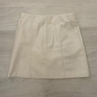 ザラ(ZARA)のZARA レザースカート ホワイト(ミニスカート)