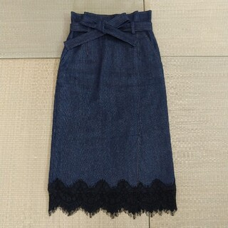 JILLSTUART - 【美品】JILLSTUART 裾レースデニムタイトスカート ウエストリボン