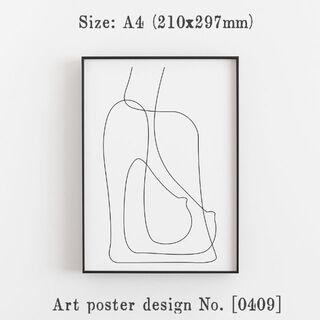 【409A4MFA】アートポスター シンプル 北欧 モノトーン A4サイズ(その他)