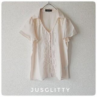 ジャスグリッティー(JUSGLITTY)のjusglitty サーモンピンク レース ブラウス 2サイズ Lサイズ(シャツ/ブラウス(半袖/袖なし))
