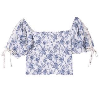 エイミーイストワール(eimy istoire)のAmanda flower eimy ribbon シャーリングトップス(カットソー(半袖/袖なし))
