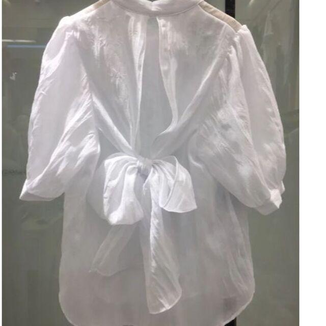 ZARA(ザラ)のバックリボン シアーブラウス レディースのトップス(シャツ/ブラウス(半袖/袖なし))の商品写真