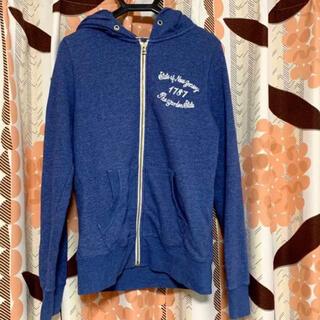 ライトオン(Right-on)のパーカー ブルー フード付き レディース ライトオン 刺繍 バックナンバー(パーカー)