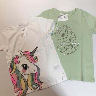 H&M - 今期作✨135 ユニコーン ♡プリント Tシャツ2枚セットH&M