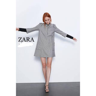 ザラ(ZARA)のzara♡襟付きチェックミニワンピース(ミニワンピース)